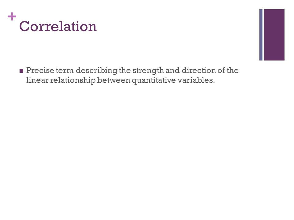 Correlation Precise term describing the strength and direction of the linear relationship between quantitative variables.