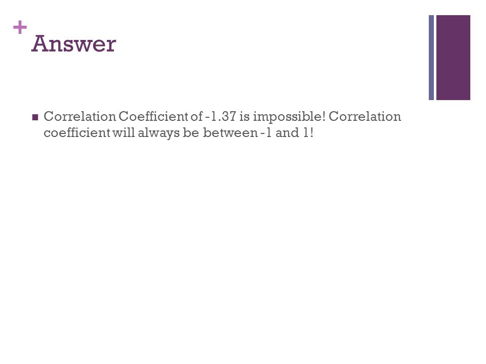 Answer Correlation Coefficient of -1.37 is impossible.