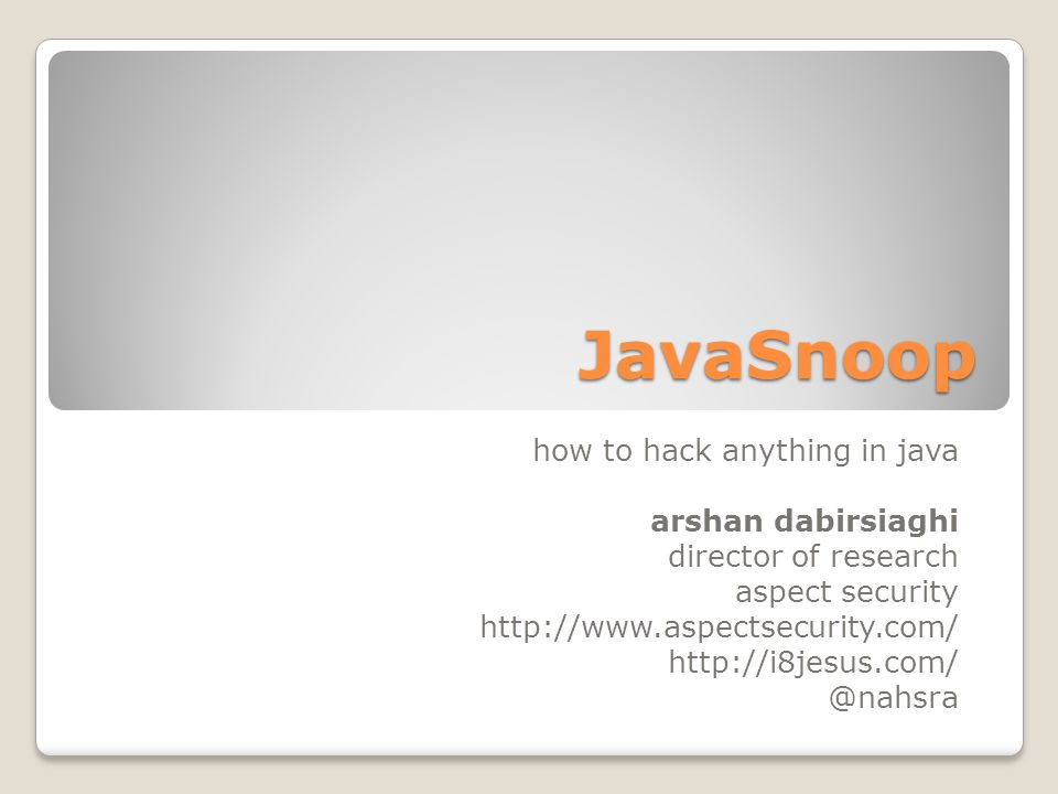 JavaSnoop how to hack anything in java arshan dabirsiaghi