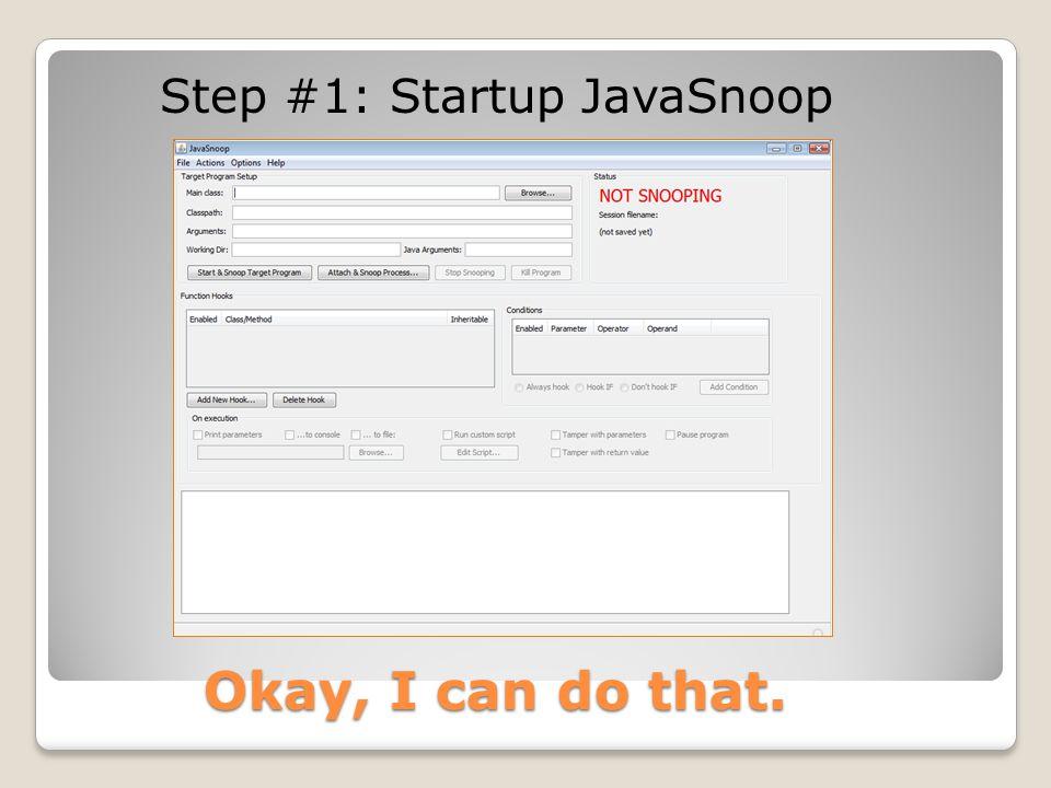 Step #1: Startup JavaSnoop