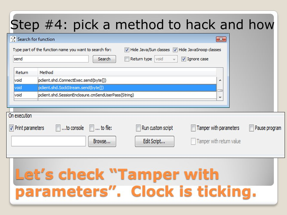 Let's check Tamper with parameters . Clock is ticking.