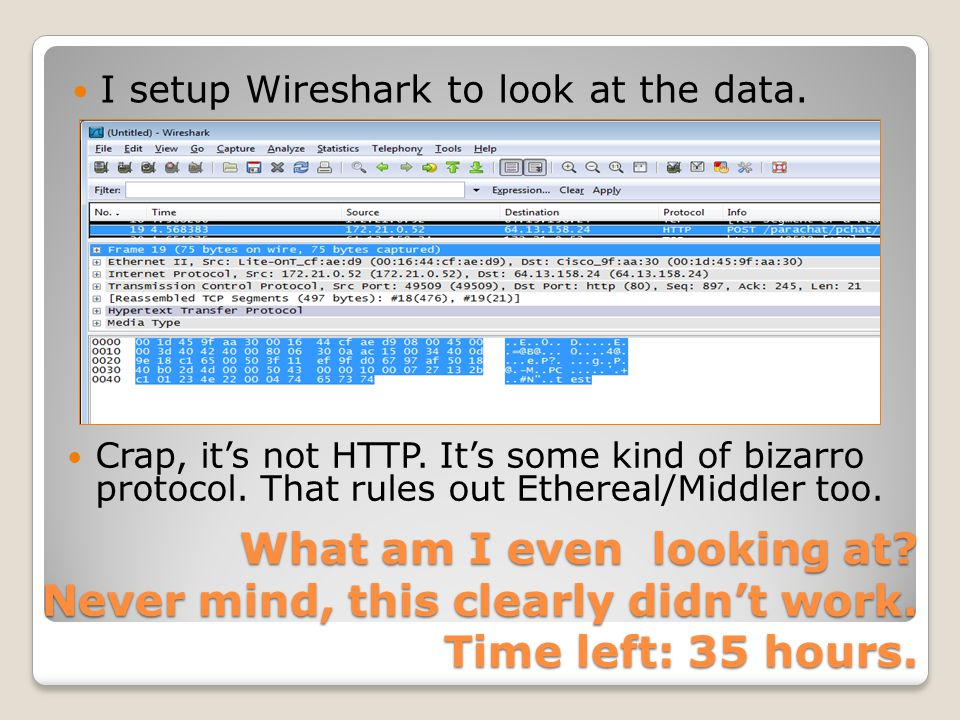 I setup Wireshark to look at the data.