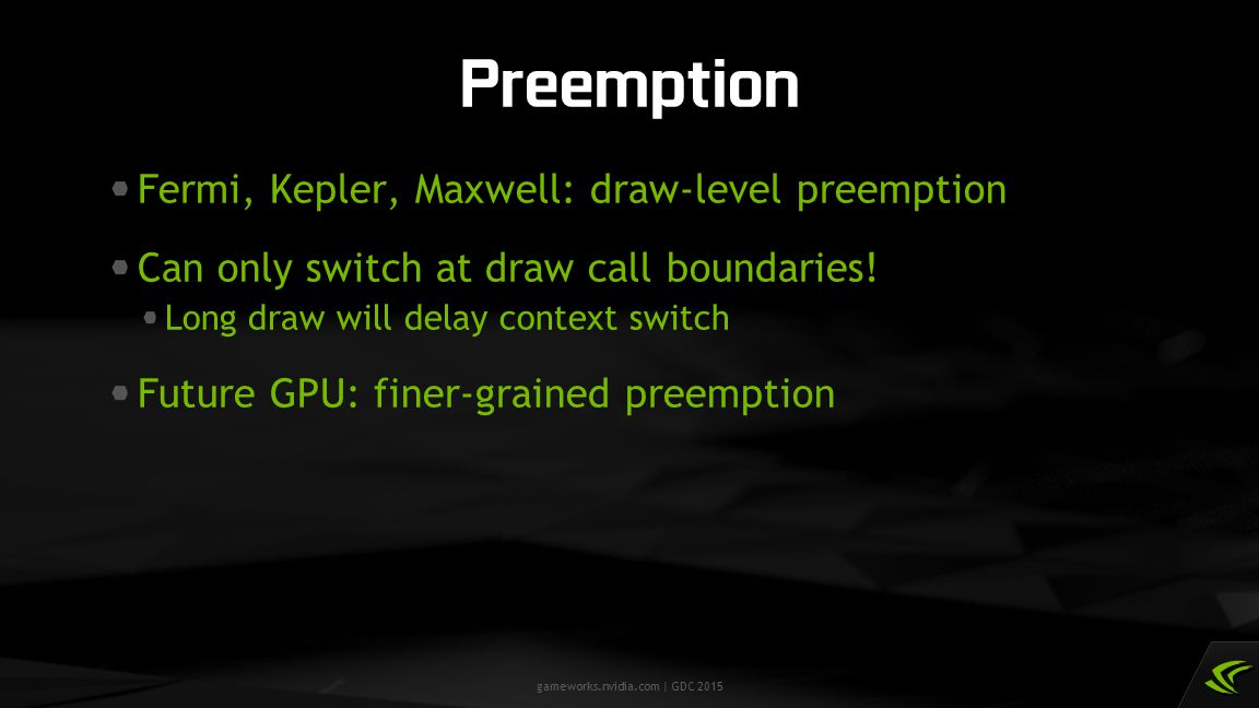 Preemption Fermi, Kepler, Maxwell: draw-level preemption