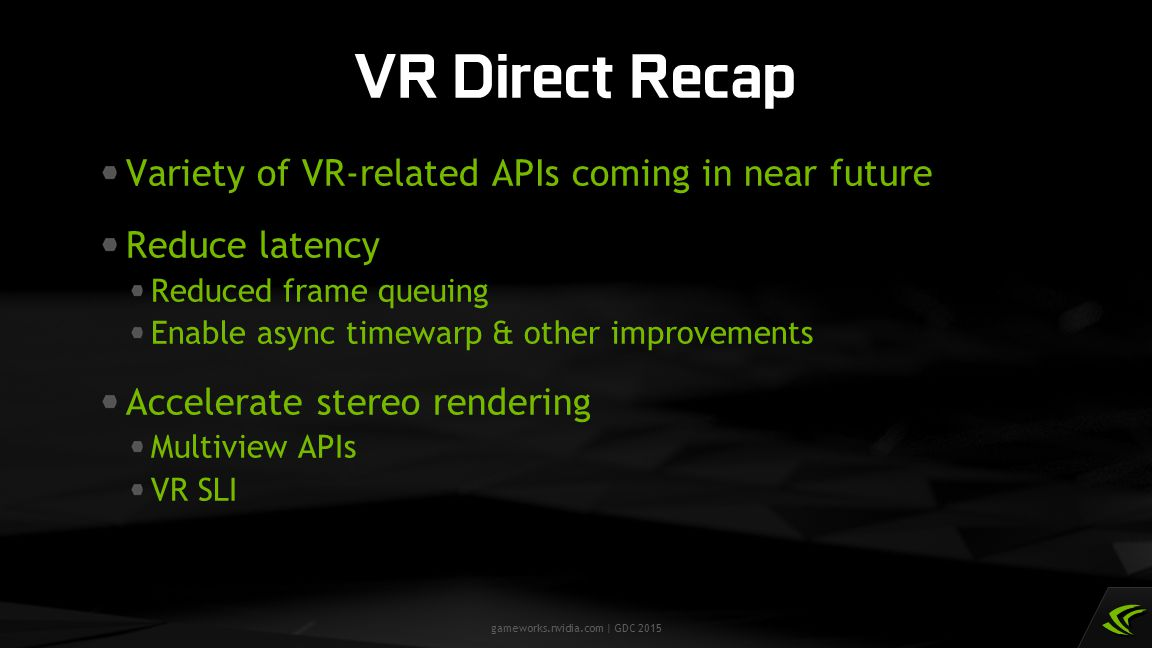 VR Direct Recap Variety of VR-related APIs coming in near future