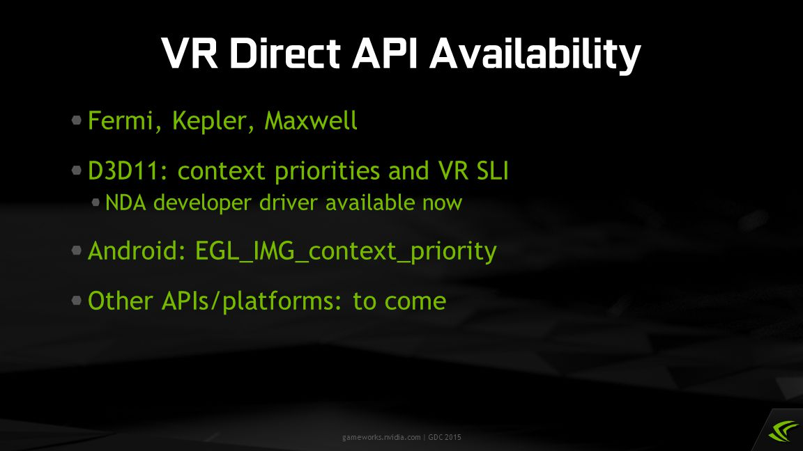 VR Direct API Availability