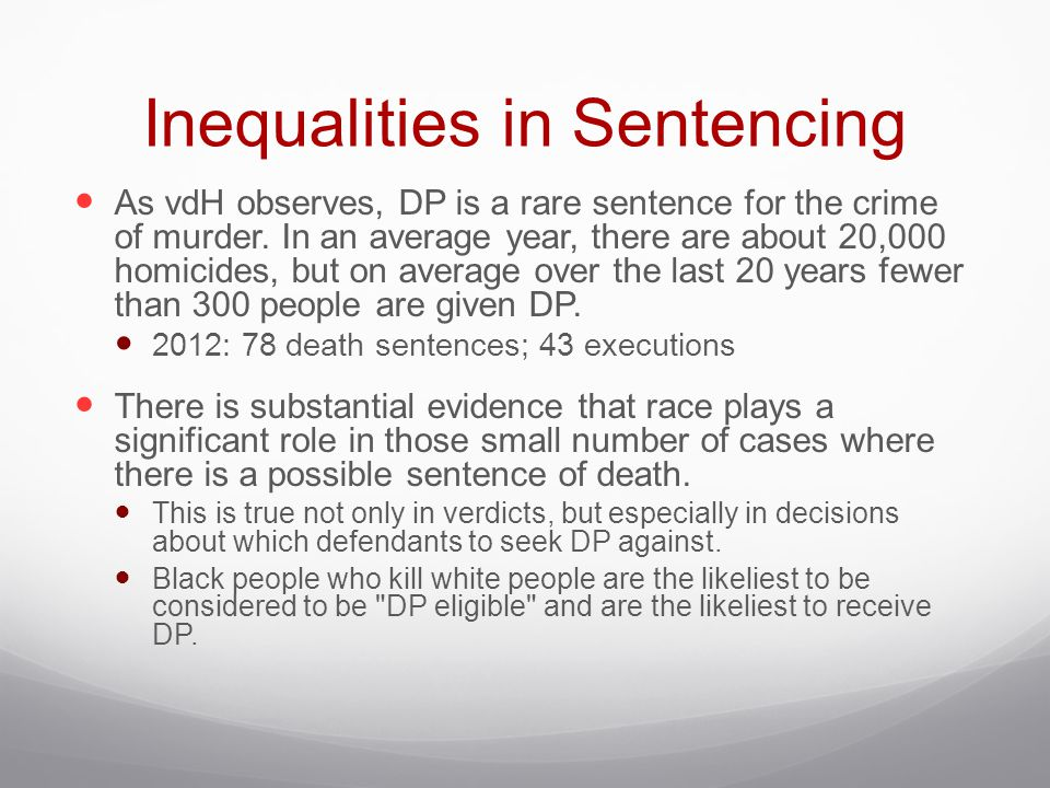 Inequalities in Sentencing