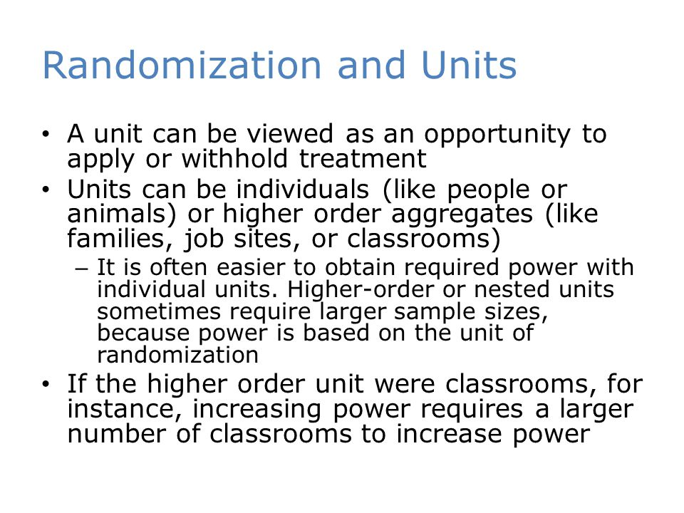 Randomization and Units