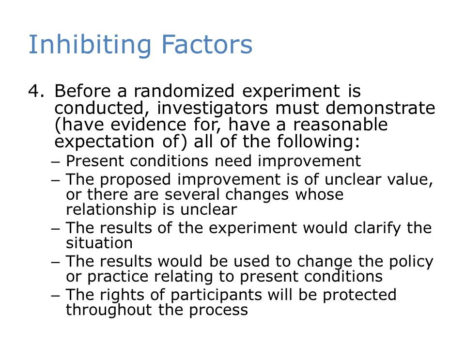 Inhibiting Factors