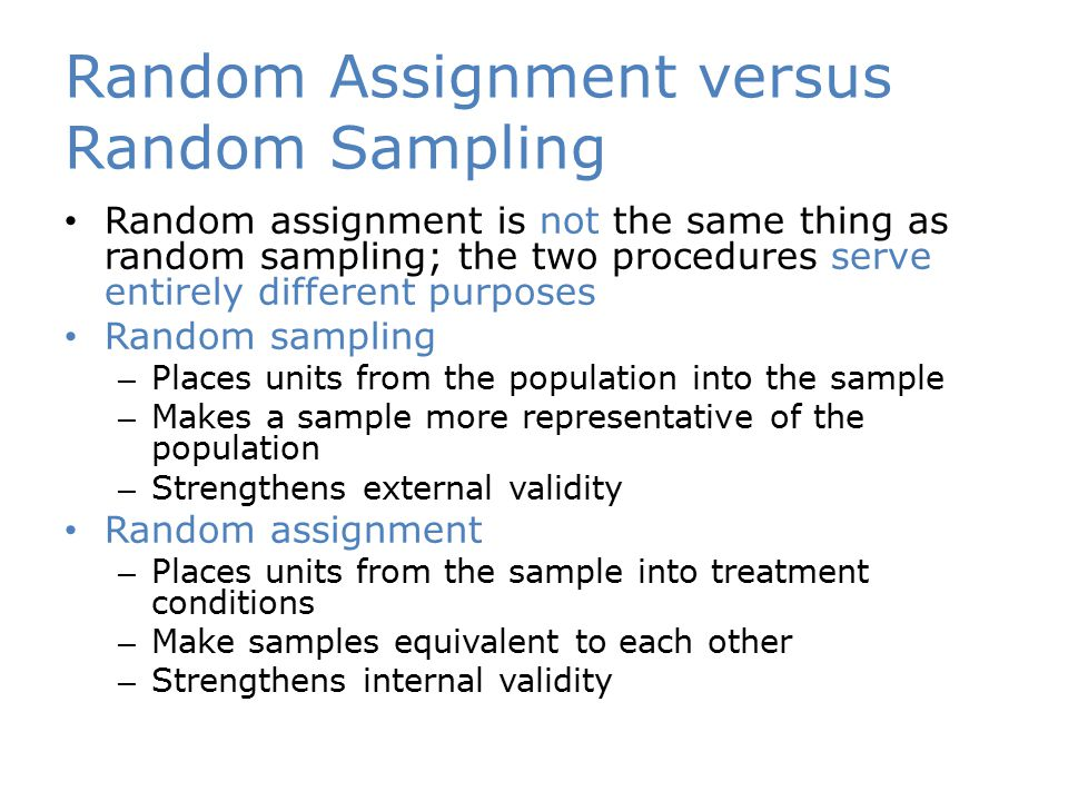 Random Assignment versus Random Sampling