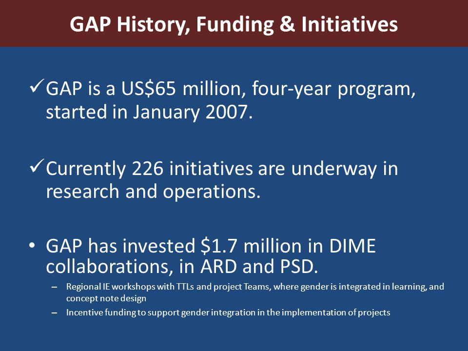 GAP History, Funding & Initiatives