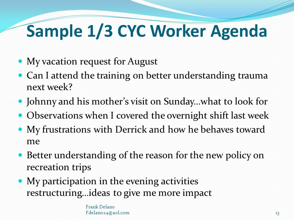 Sample 1/3 CYC Worker Agenda