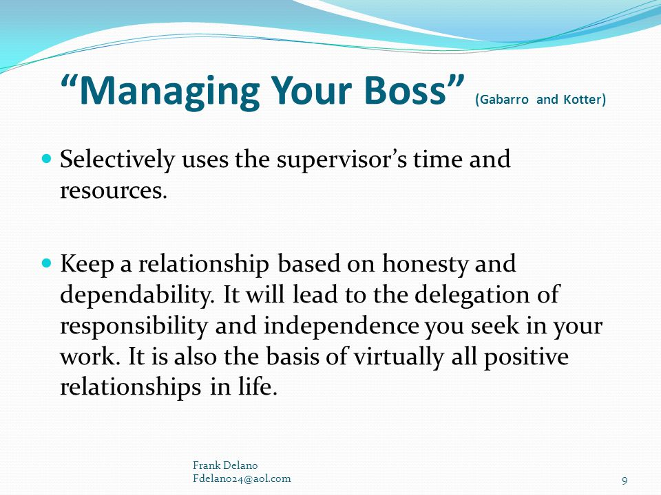 Managing Your Boss (Gabarro and Kotter)