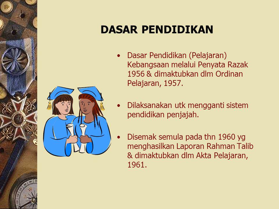 DASAR PENDIDIKAN Dasar Pendidikan (Pelajaran) Kebangsaan melalui Penyata Razak 1956 & dimaktubkan dlm Ordinan Pelajaran, 1957.