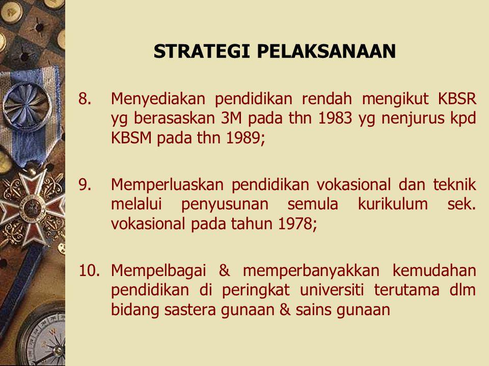 STRATEGI PELAKSANAAN Menyediakan pendidikan rendah mengikut KBSR yg berasaskan 3M pada thn 1983 yg nenjurus kpd KBSM pada thn 1989;