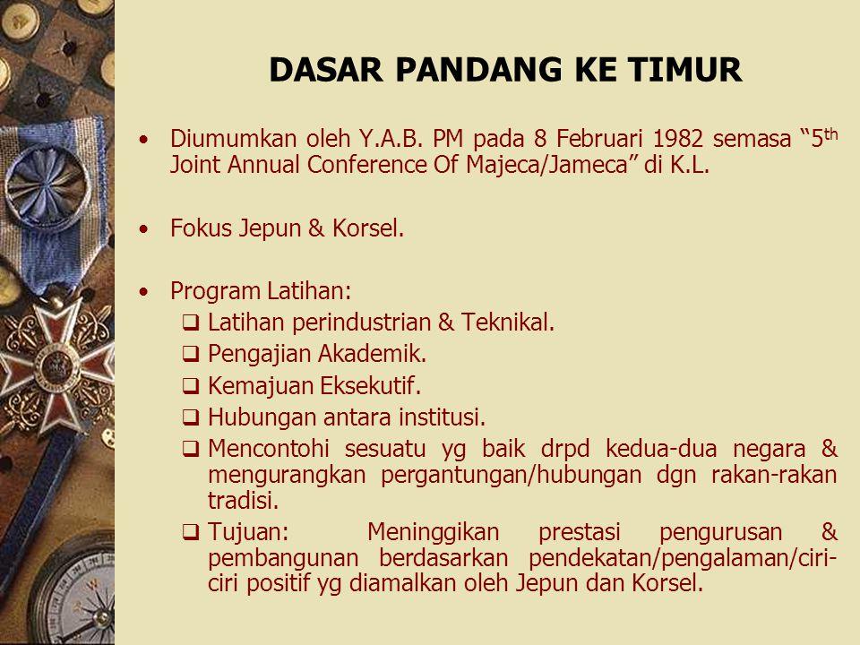 DASAR PANDANG KE TIMUR Diumumkan oleh Y.A.B. PM pada 8 Februari 1982 semasa 5th Joint Annual Conference Of Majeca/Jameca di K.L.