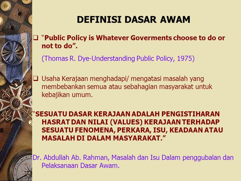 (Thomas R. Dye-Understanding Public Policy, 1975)