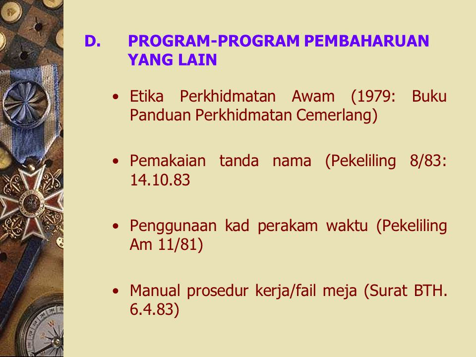 PROGRAM-PROGRAM PEMBAHARUAN YANG LAIN