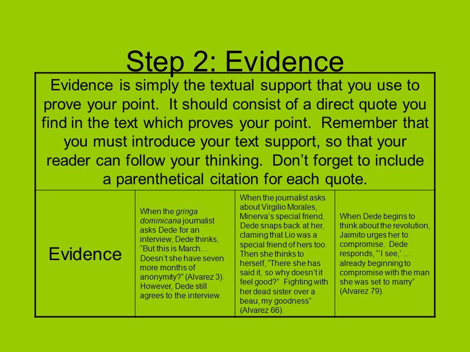 Step 2: Evidence Evidence