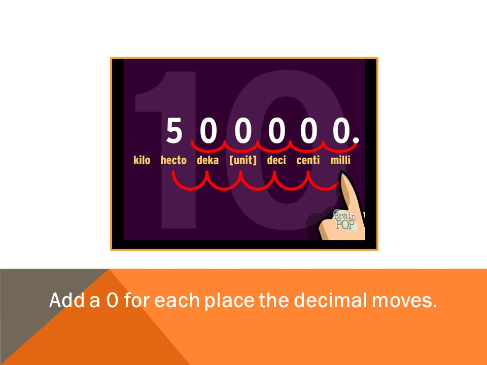 Add a 0 for each place the decimal moves.