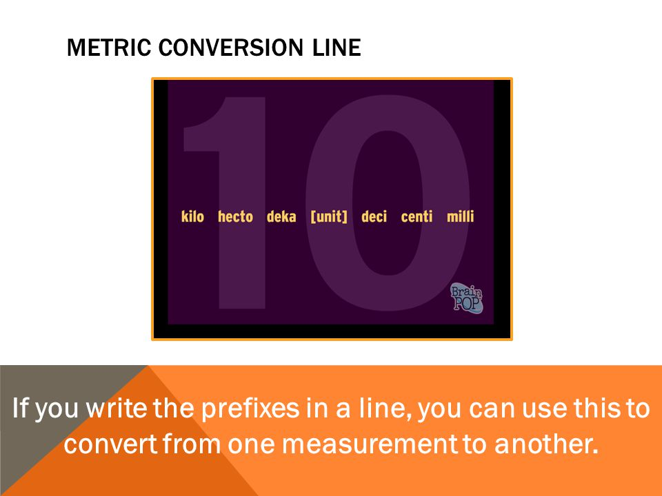 Metric conversion line