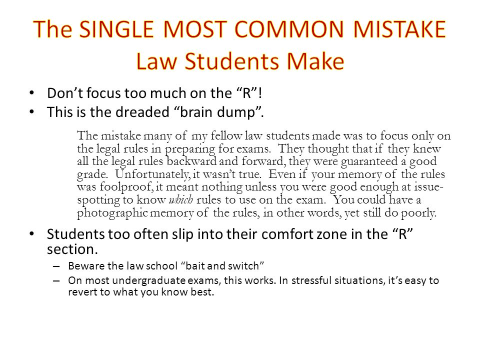 The SINGLE MOST COMMON MISTAKE Law Students Make