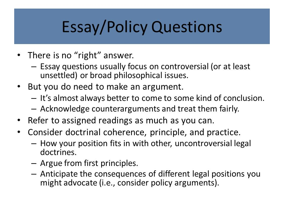 Essay/Policy Questions