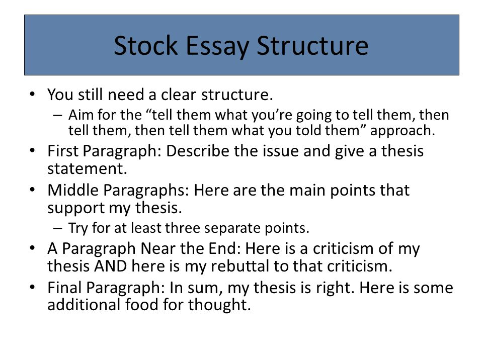 Stock Essay Structure You still need a clear structure.