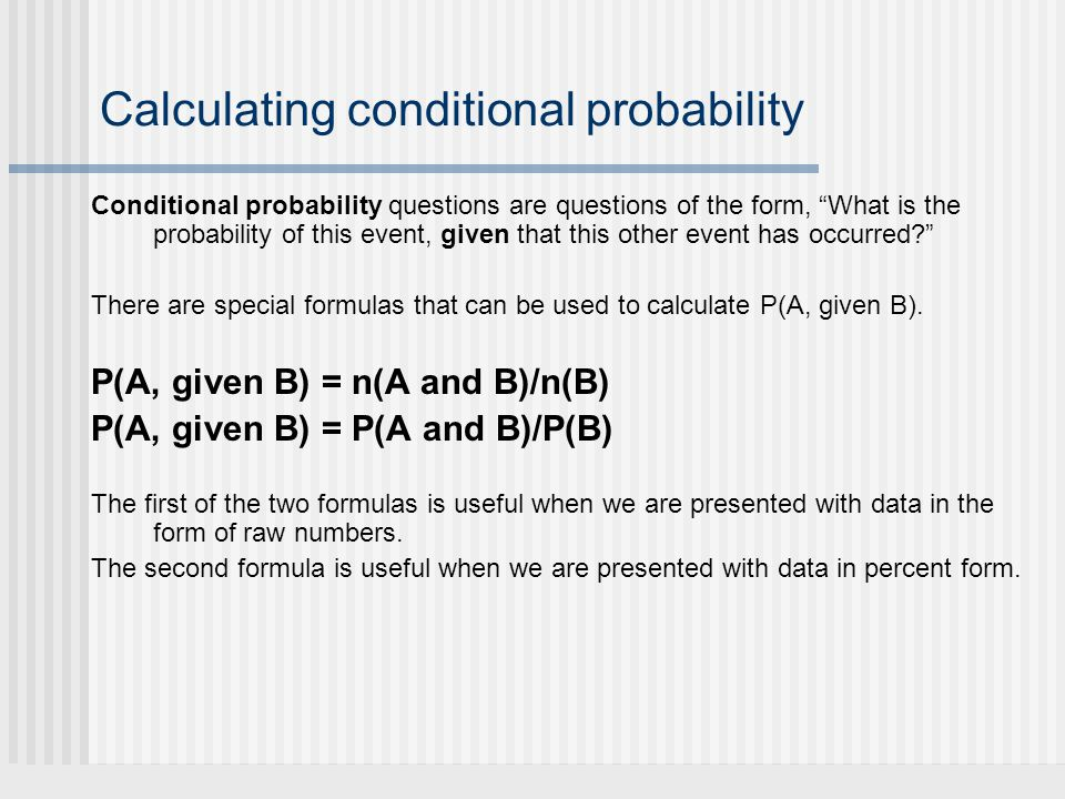 Calculating conditional probability
