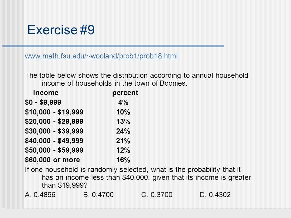 Exercise #9 www.math.fsu.edu/~wooland/prob1/prob18.html