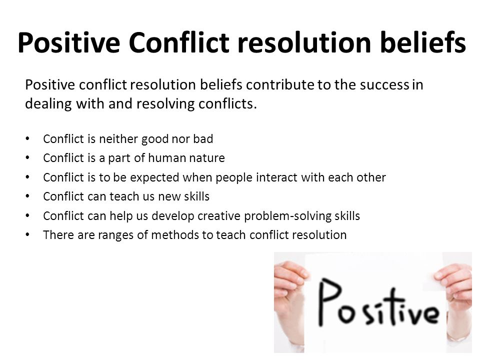 Positive Conflict resolution beliefs