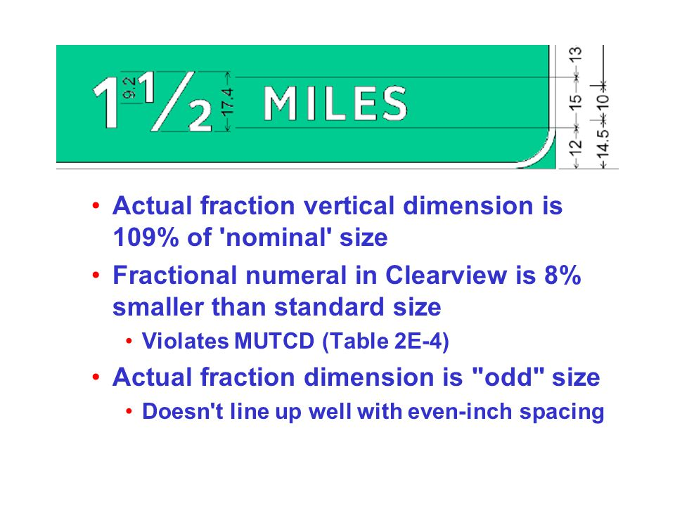 Actual fraction vertical dimension is 109% of nominal size