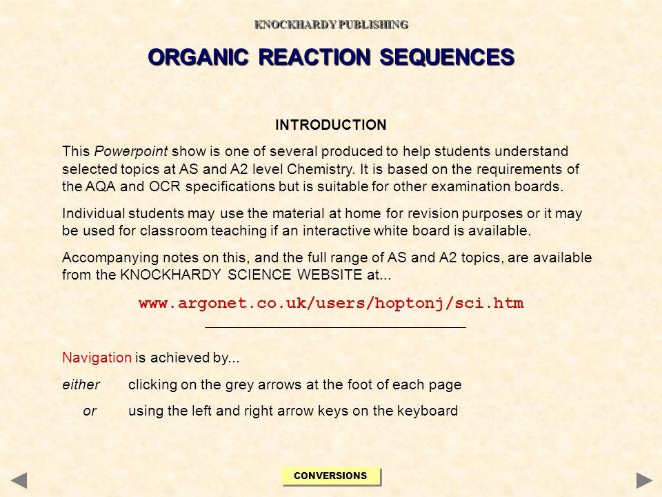 KNOCKHARDY PUBLISHING ORGANIC REACTION SEQUENCES