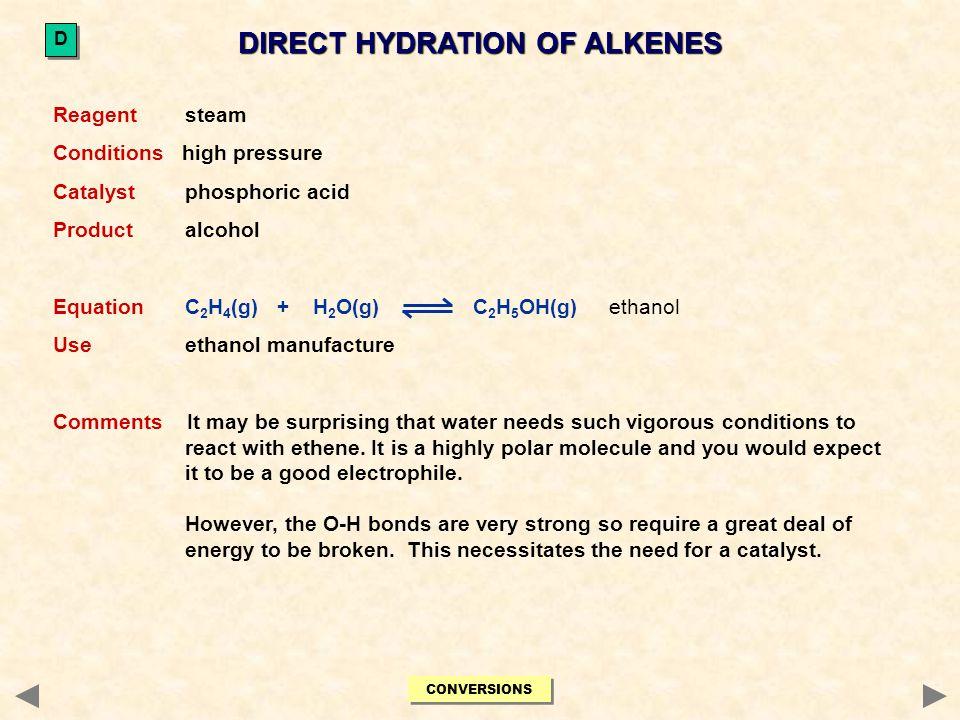 DIRECT HYDRATION OF ALKENES