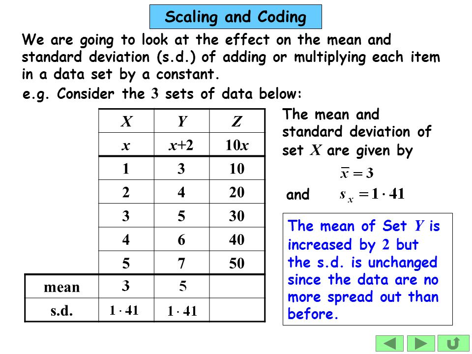 We are going to look at the effect on the mean and standard deviation (s.d.) of adding or multiplying each item in a data set by a constant.
