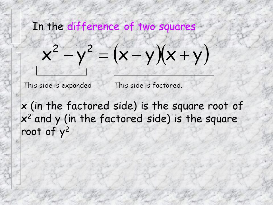 In the difference of two squares