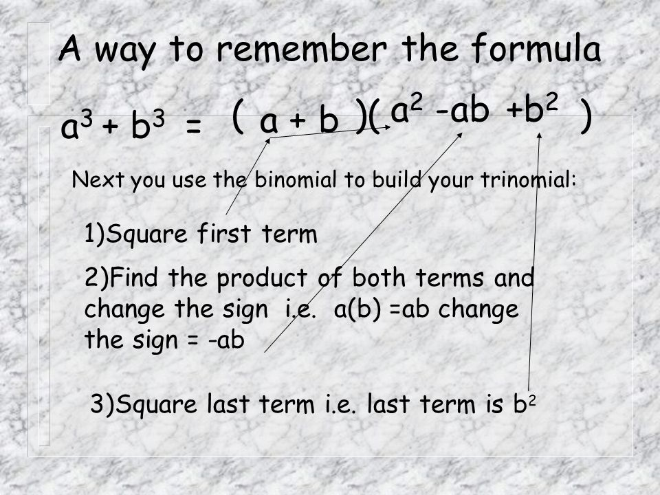 A way to remember the formula
