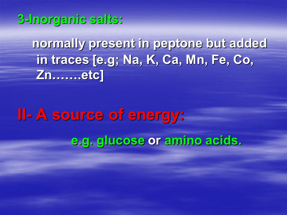 e.g. glucose or amino acids.