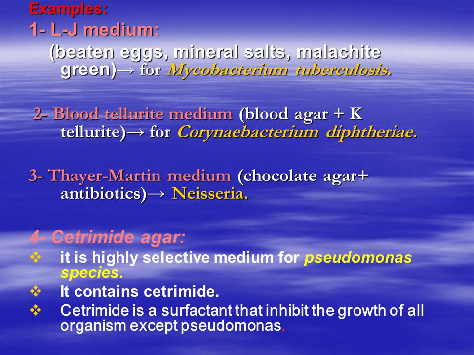 3- Thayer-Martin medium (chocolate agar+ antibiotics)→ Neisseria.