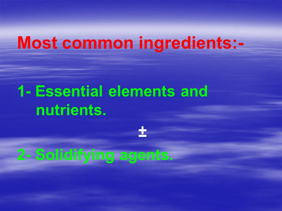 Most common ingredients:-
