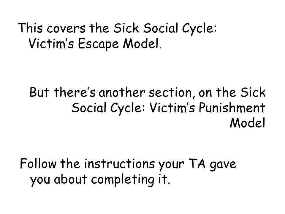 This covers the Sick Social Cycle: Victim's Escape Model.