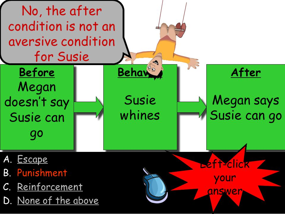 No, the after condition is not an aversive condition for Susie