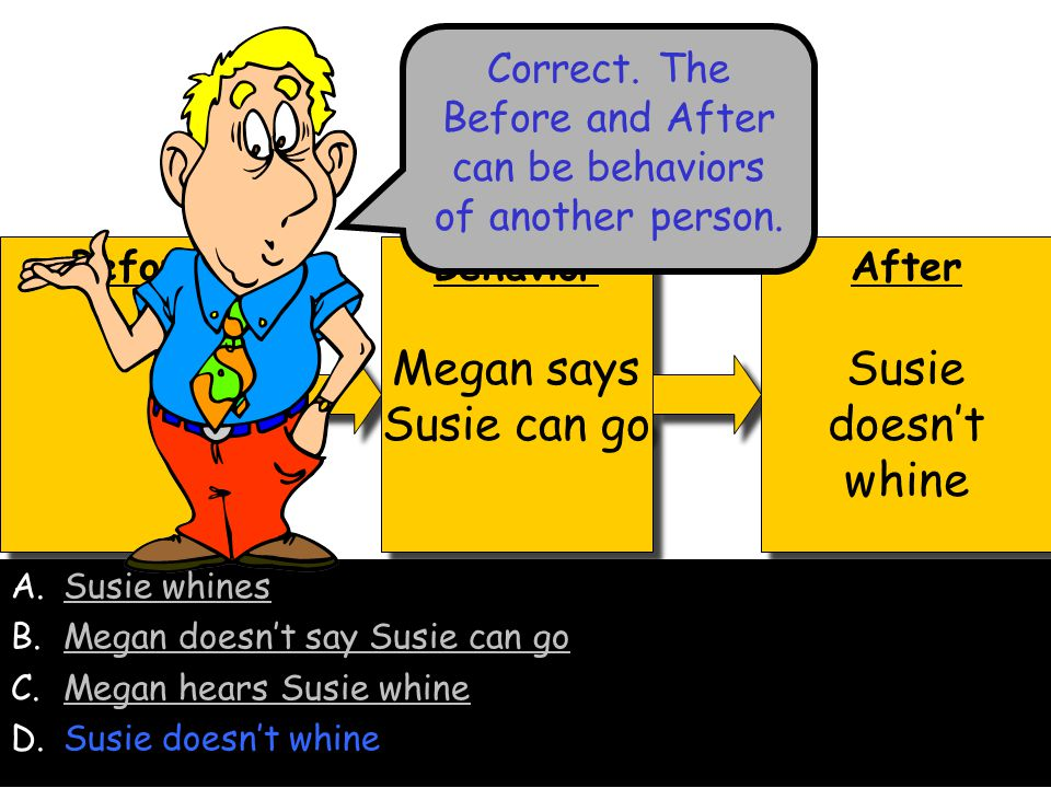 Correct. The Before and After can be behaviors of another person.