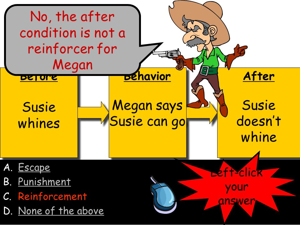 No, the after condition is not a reinforcer for Megan