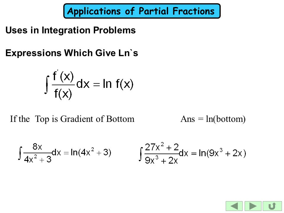 Uses in Integration Problems