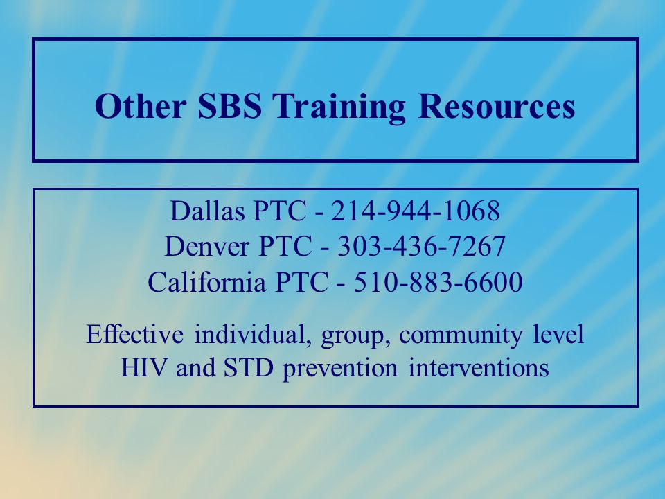 Other SBS Training Resources