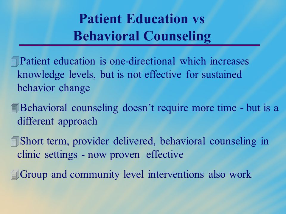 Patient Education vs Behavioral Counseling