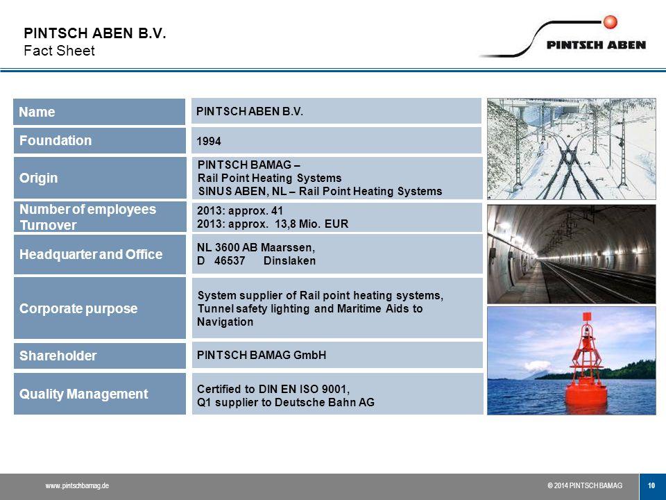 PINTSCH ABEN B.V. Fact Sheet