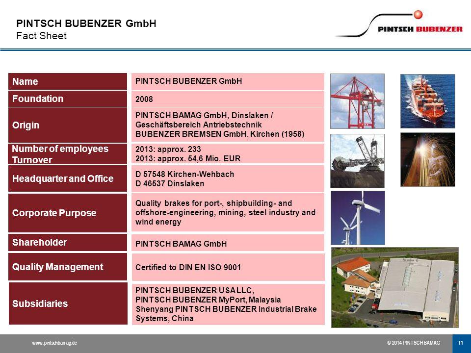 PINTSCH BUBENZER GmbH Fact Sheet