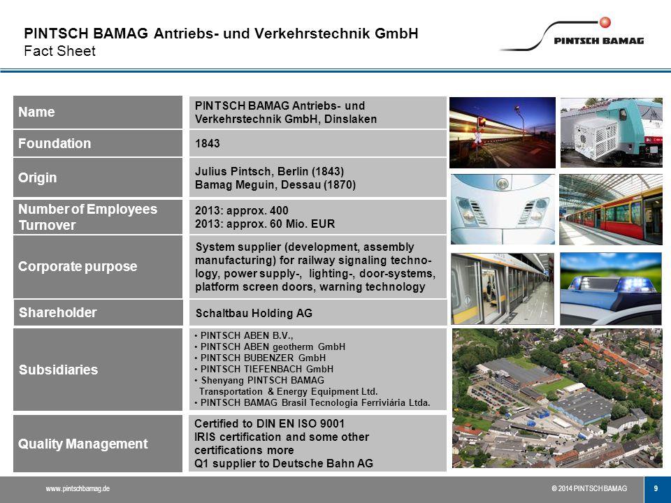 PINTSCH BAMAG Antriebs- und Verkehrstechnik GmbH Fact Sheet
