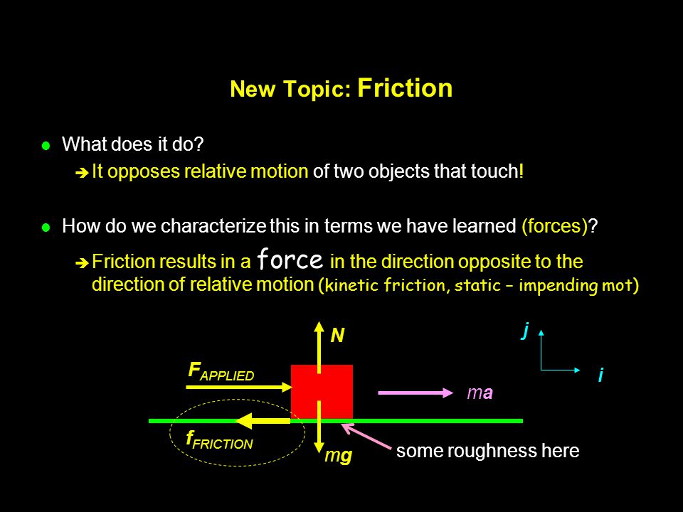 New Topic: Friction What does it do